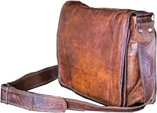 13 Inch Leather Full Flap Messenger Handmade Bag Laptop Bag Satchel Bag Padded Messenger Bag School Brown (13X10)