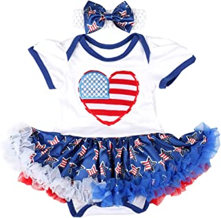 Slowera Baby Girls 4th of July Bodysuits American Flag Dress Independence Day Outfits Clothes