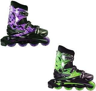 Linear Roller Blades - Inline Skates for Women, Men, Kids - Adult & Child Patines Roller Skate Blade - Rollerblades Women/Rollerblades Men (Green Lazer, Purple Camo)