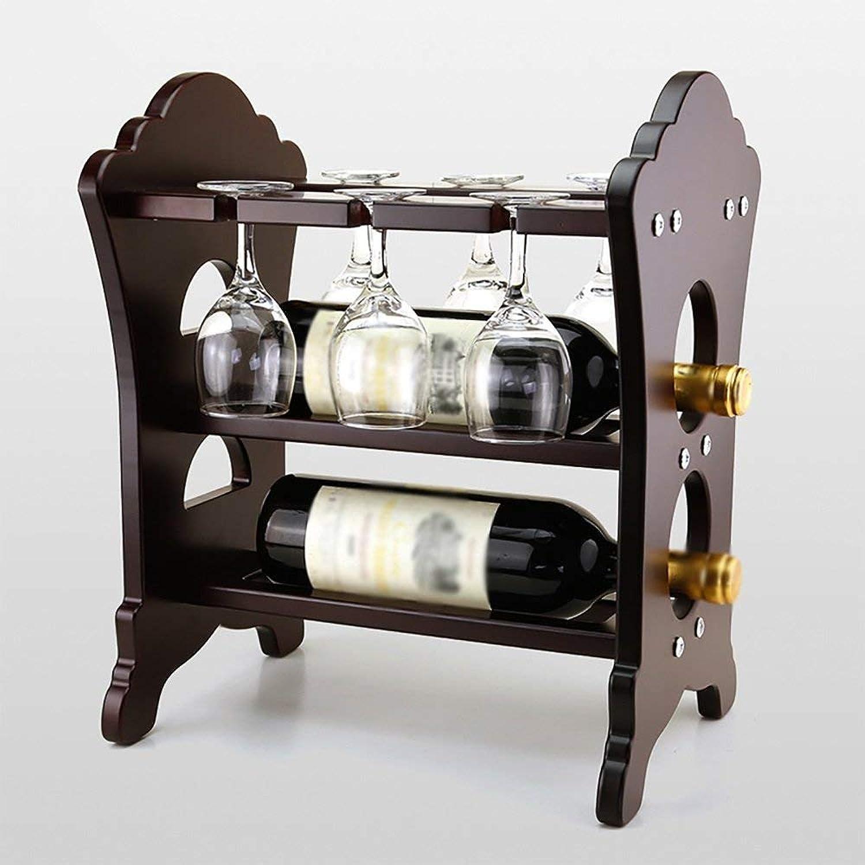Red Wine Shelf Wine Rack European Wooden Wine Rack Stemware Holder 2 Bottles Hanging Cup