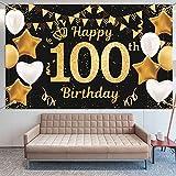 Décoration d'anniversaire pour 100 ans - Or noir - Pour 100 hommes et femmes - Décoration d'anniversaire - Ballons pour fête d'anniversaire