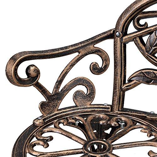 [casa.pro] Gartenbank Bronze Gusseisen – Wetterfester 2-Sitzer rund aus Metall im Antik-Design – Parkbank / Sitzbank / Eisenbank im Landhausstil - 6