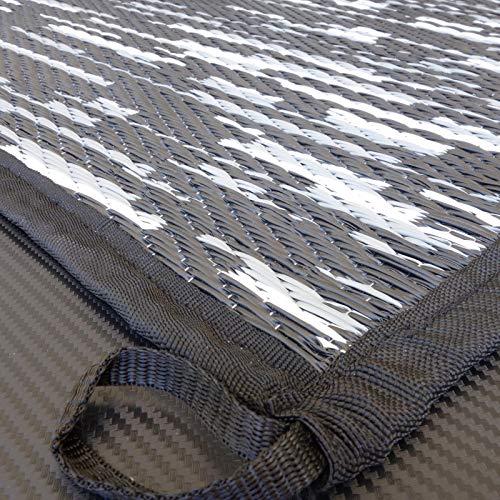 Zeltteppich WAVETEX-Platin 2,7m x 2m schwarz-grau *** 450 g/m² Outdoor Teppich Vorzelt Garten Spieldecke *** Große Auswahl und Farben