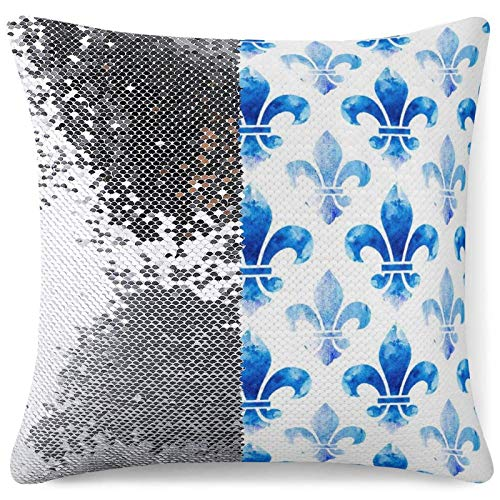 Flip Mermaid Pillow Cover Reversible Sequin Throw Cushion Cases Blue Fleur De lis Square Pillowcases Couch Sofa Bed Decor (16 in x 16 in) 40 cm x 40 cm