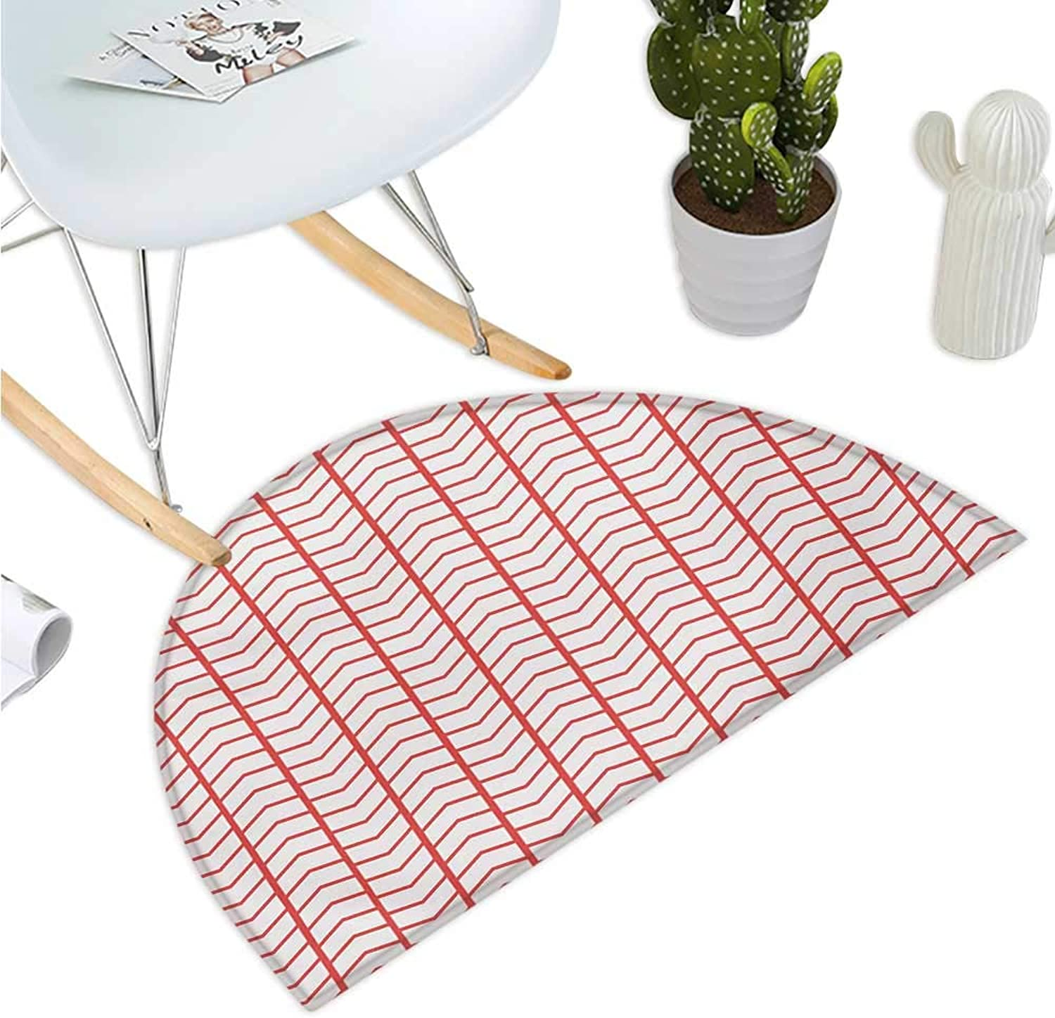 Modern Semicircle Doormat Geometrical Chevron Lines and Triangle Shaped Border Seem Artwork Image Entry Door Mat H 43.3  xD 64.9  Dark Coral and White