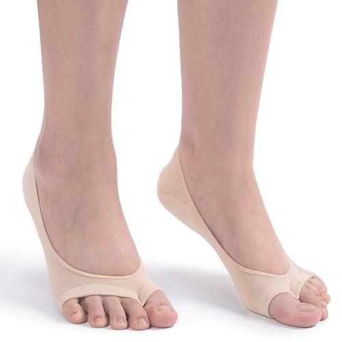 5c718a7b431 Women s 3 6 Pairs Peep Toe Liner Socks No Show Casual Socks with Nonslip  Heel