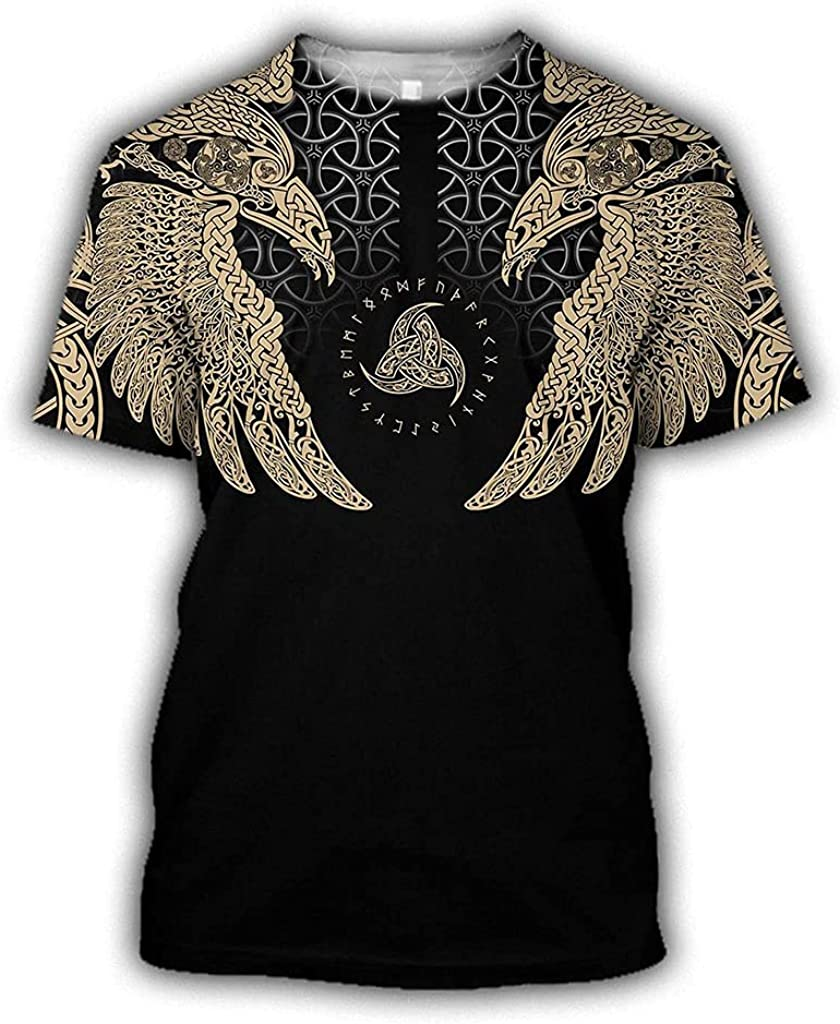 Viking Raven Odin Tattoo Hoodie, Men/Women Vintage Print Couple Suit t Shirt, Sweatshirt, Trousers