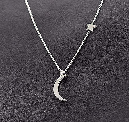 YOUZYHG co.,ltd Collar Collares para Mujer Cadena Luna Estrella Colgante Mujeres Declaración Collar Simple Collar de joyería