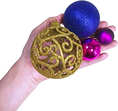 Winlyn 144 PCS Assorted Blue Purple Fuchsia Gold Christmas Tree Ball Ornaments Shatterproof Plastic Balls Decorations for Christmas Teal Tree Topper Holiday Outdoor Decor White Gift Box Included