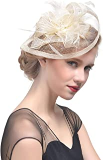 Obosoyo Sinamay Fascinator Hat Feather Mesh Net Veil Cocktail Party Hat Flower Derby Hat for Women