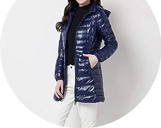 Down Parka Winter Down Jacket Women Long White Duck Down Jacket Outwear Thin Hat Coat