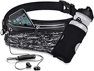 Running Belt Waist Pack with Water Bottle Holder Fanny Pack Reflective Compatible for iPhone X/XS Max/XR, Waistband Travel Money Belt for Workouts, Cycling, Runner, Jogging
