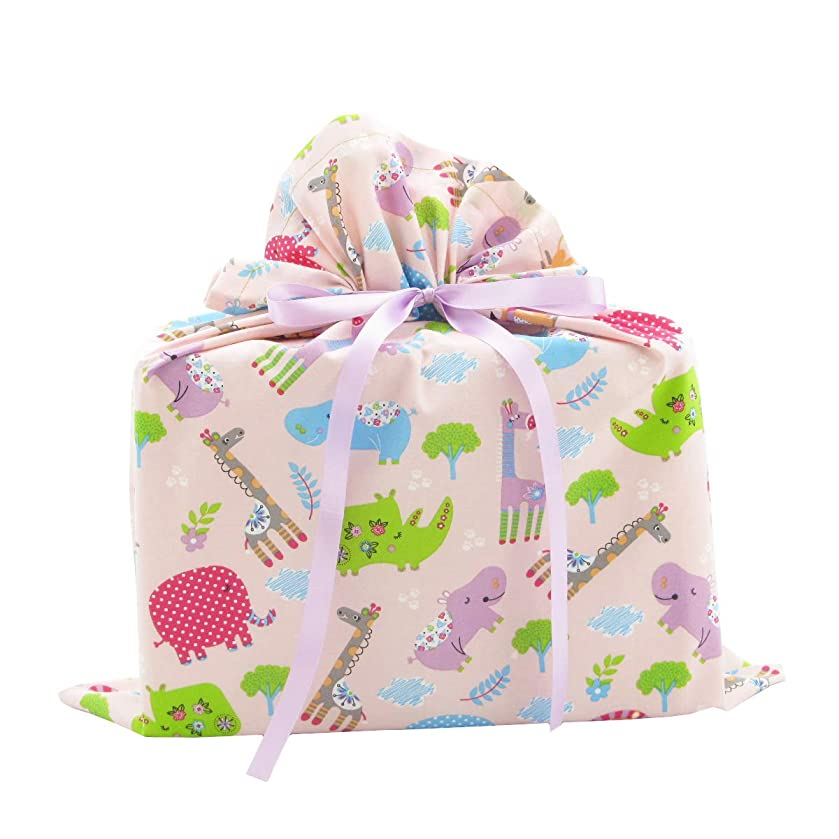 Jungle Animals Reusable Fabric Gift Bag for Baby Shower or Child's Birthday (Medium 17 Inches Wide by 18 Inches High, Pink)