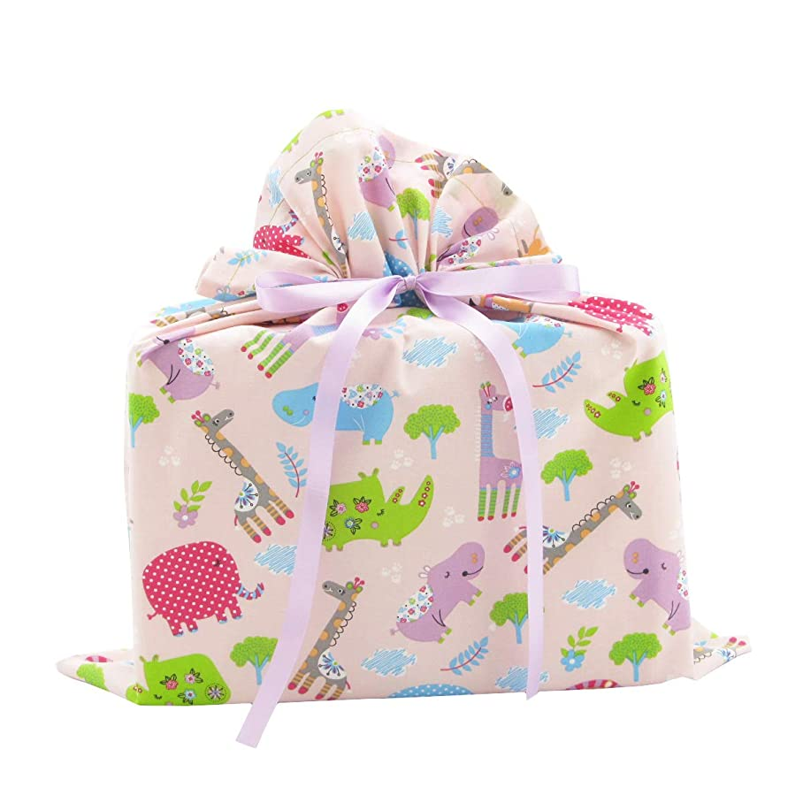 Jungle Animals Reusable Fabric Gift Bag for Baby Shower or Child's Birthday (Medium 17 Inches Wide by 18 Inches High, Pink) u140527316