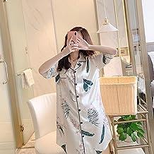Sexy Nachthemd Voor Dames,Witte Print Zijde Satijn Nachtkleding Half Mouw Satijnen Nachthemd Kimono Sleepshirts Losse Hemd...
