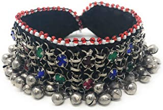 Tribal Turkman Fabric Belly Dance Anklet with Loud Bells Afghani Gypsy Kuchi