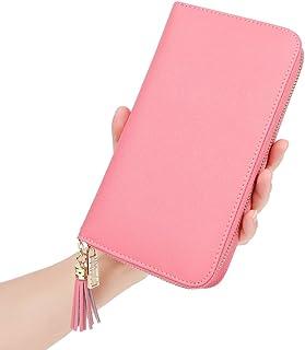Women's RFID Blocking 30 Slots Card Holder Large Long Zipper Checkbook Accordion Wallet,Pink