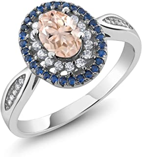 Gem Stone King 925 Sterling Silver Peach Morganite Women's Engagement Ring 1.25 Ct Oval (Available 5,6,7,8,9)