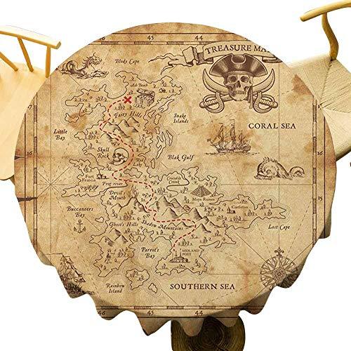 Mantel de mapa de la isla VICWOWONE – Mantel redondo de 40 pulgadas al aire libre Super detallado mapa del tesoro Grungy rústico piratas oro secreto tema historia del mar sentirse cómodo beige marrón