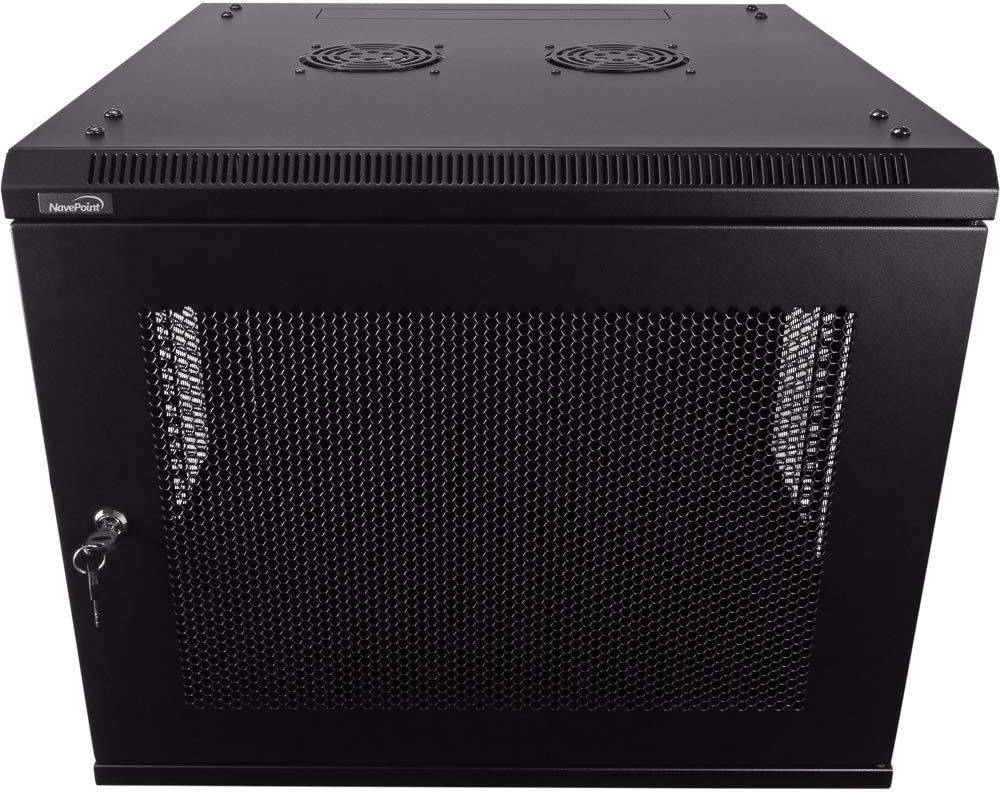 NavePoint 9U Deluxe IT Wallmount Cabinet Enclosure 19-Inch Server Network Rack with Locking Perforated Door 24-Inches Deep Black