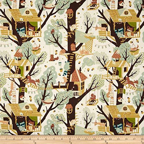 Birch Organic Fabrics Birch Organic Tree Fort Cream Ivory, Fabric by the Yard