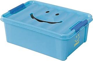 SPICE OF LIFE(スパイス) 収納ケース スマイルボックス ブルー Sサイズ 約40×28×15cm ポリプロピレン ふた付き スタッキング可 SFPT1510BL