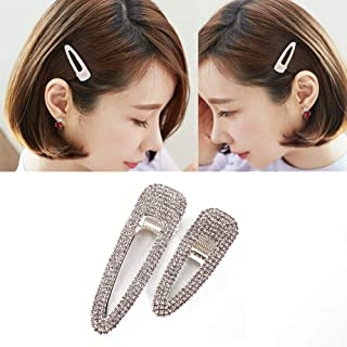 2PCS Lady Women Sweet Rhinestone Crystal Hairpin Duckbill Clip Alligator Clip Simple Fashion Alloy BB Hairgrip Hair Accessories (Silver)