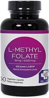 MD.LIFE L-Methyl Folate|5-MTHF| 15 mg| 60 Capsules Active Form of Folic Acid| Scientifically Formulated B Vitamin Blend with B12, B9, Niacin, B1, B2  (60 Caps)