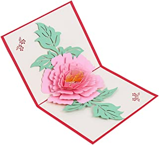 Sanwooden Greeting Card Sent to Bless Beautiful 3D Pop Up Flower Peony Birthday Greeting Thanksgiving Wedding Card Grateful to Have You.