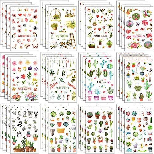 Chuangdi 48 Blatt Kaktus-Sticker Blumen Deko Aufkleber Tagebuch Planer Aufkleber für Party Urlaub
