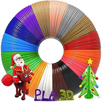 3D Pen Filament 320 Feet, 16 Colors?Each Color 20 Feet, Bonus 250 Stencils eBooks - 3D Pen/3D Printer PLA Filament 1.75mm, High-Precision Diameter and Kids Safe Refill