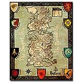 Leinwand Malerei Spiel Poster Westeros Karte Game Of