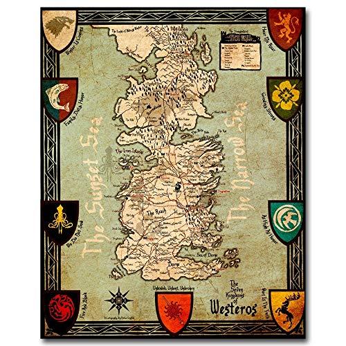 Leinwand Malerei Spiel Poster Westeros Karte Game Of Thrones Wandbild druckt Leinwandbilder für Wohnzimmer Home Decor No Frame Paintings 50 * 70cm