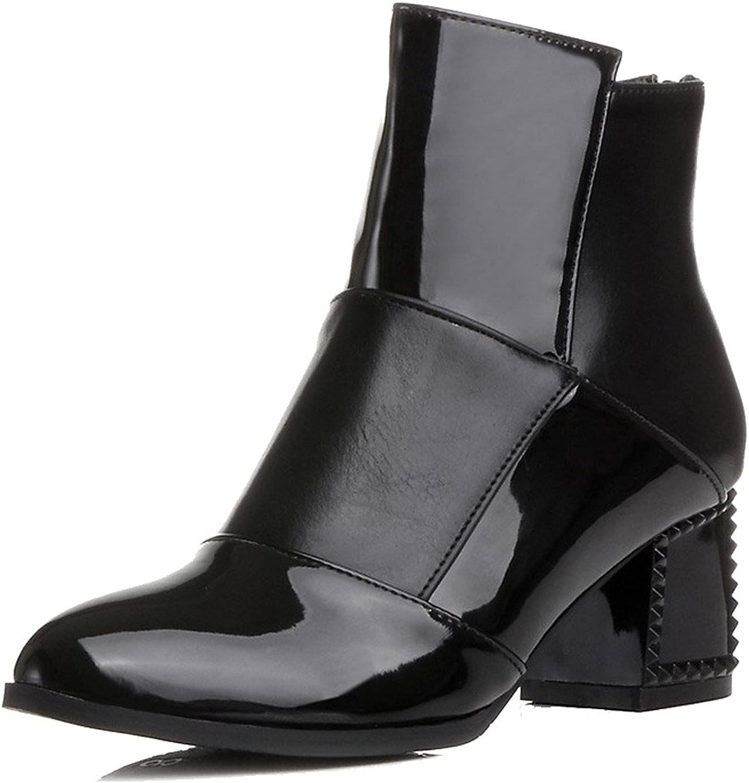 AllhqFashion Women's PU Low-top Assorted color Zipper Kitten-Heels Boots