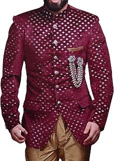 Groom Mandarin Collar Suit Maroon Velvet Cutwork Jodhpuri Suit JO1113