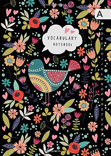 Vocabulary Notebook: B6 Notebook 2 Columns Small with A-Z Alphabetical Tabs Printed | Folk Bird and Floral Design Black