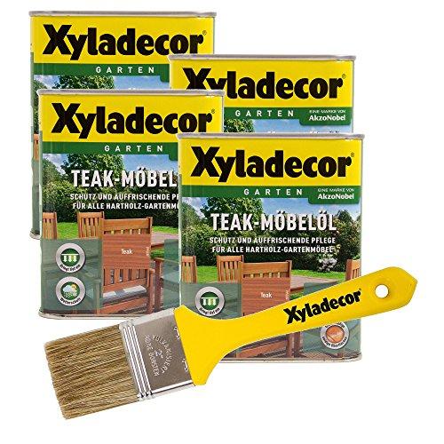 Xyladecor Teakmöbel-Öl, farbton teak, 3 l inkl Pinsel, Holz Pflegeöl für Möbel und Holz im Aussenbereich