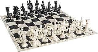 Roman Chess Set - Vinyl Chess Board Black / White- Size 17,3