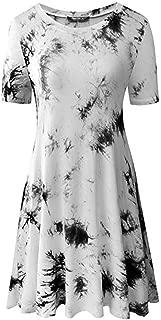 Womens Summer Casual Short Sleeve Round Neck Tunic Dress Loose T-Shirt Dresses