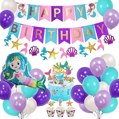 AYUQI Meerjungfrau Party Dekorationen für Mädchen,Meerjungfrau Happy Birthday Banner Set mit Weiß Blau Lila Latex Luftballons Folie Ballon Party Zubehör für Kinder Geburtstag Party Baby Shower