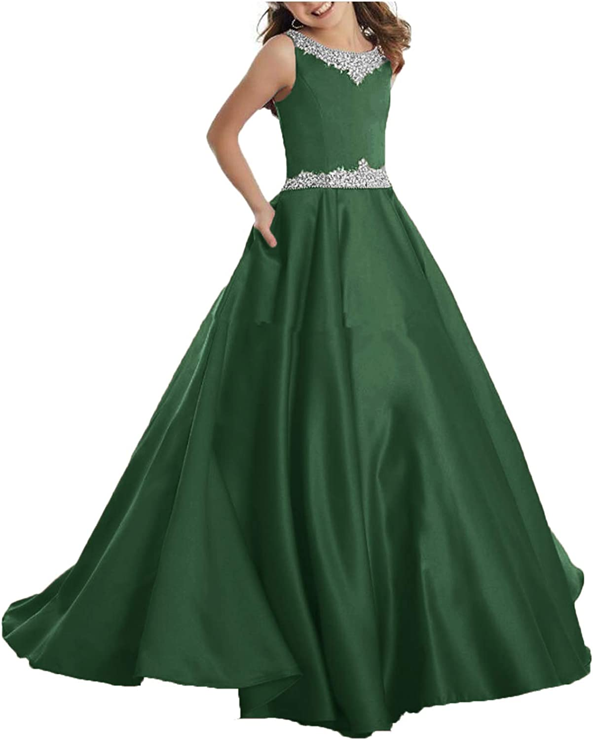 Ubride Satin Columbus Mall Flower Girls Dresses Crystals Beads Max 83% OFF Toddlers Birthd