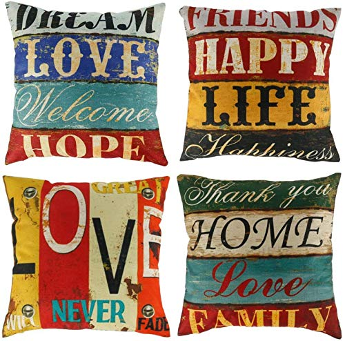 FEE-ZC Pillow Covers Cotton Linen 4Pcs Square Throw Pillow Case 45 * 45cm Decorative Letter Style Cushion Cover with Invisible Zipper for Sweet Home Bed Sofa Car Décor