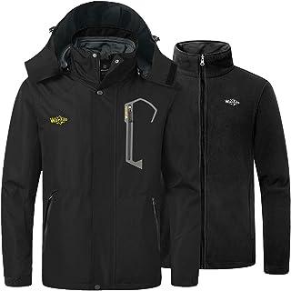 Men's 3 in 1 Mountain Waterproof Ski Jacket Windproof Rain Jacket Winter Warm Snow Coat