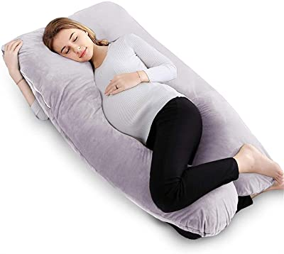 Pregnancy Body Pillow, U Shaped Full Body Pillow for Pregnant Women, 2 in 1 U Shaped Pillow with Removable Washable Velvet Cover