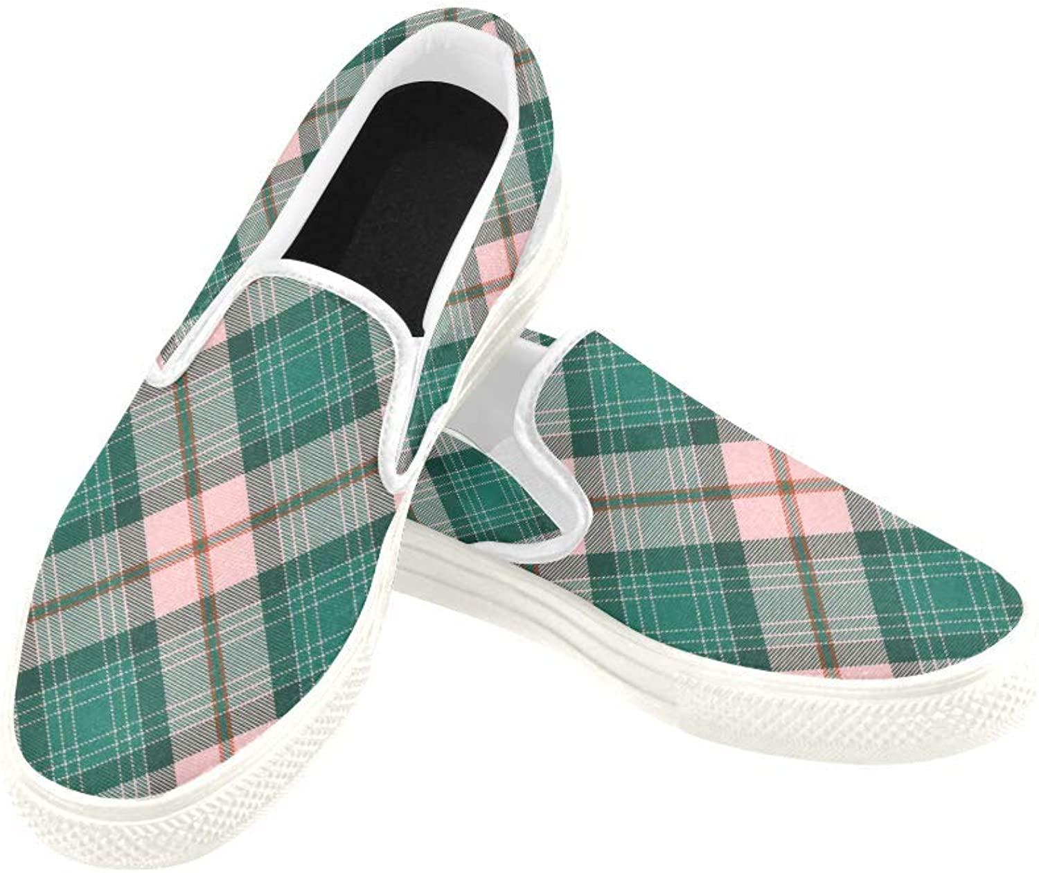 InterestPrint Womens Slip On Canvas shoes Loafers Purple Plaid Girls Classic Casual Sneakers Flats