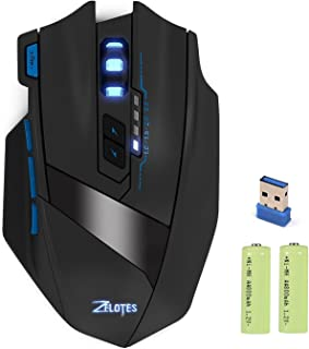 KINGTOP Wireless Gaming Mouse Rechargeable 2.4G Professional Computer Optical Game Mice with Adjustable 2500DPI for Gamer PC Laptop Desktop Notebook