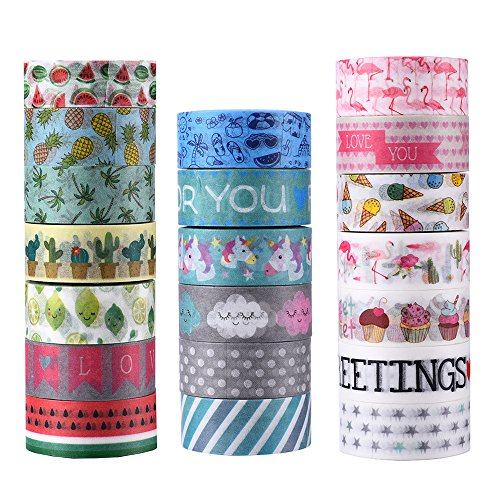 Agutape 20 Rolls Washi Tape Set, Decorative Adhesive Tape for DIY Crafts,Beautify Bullet Journals,Planners