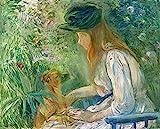 AMANUO Berthe Morisot Impresiones Pinturas Famosas sobre Lienzo Humanas 60X50 cm Cuadros Enrollada - Mujer Joven Con El Perro 1892