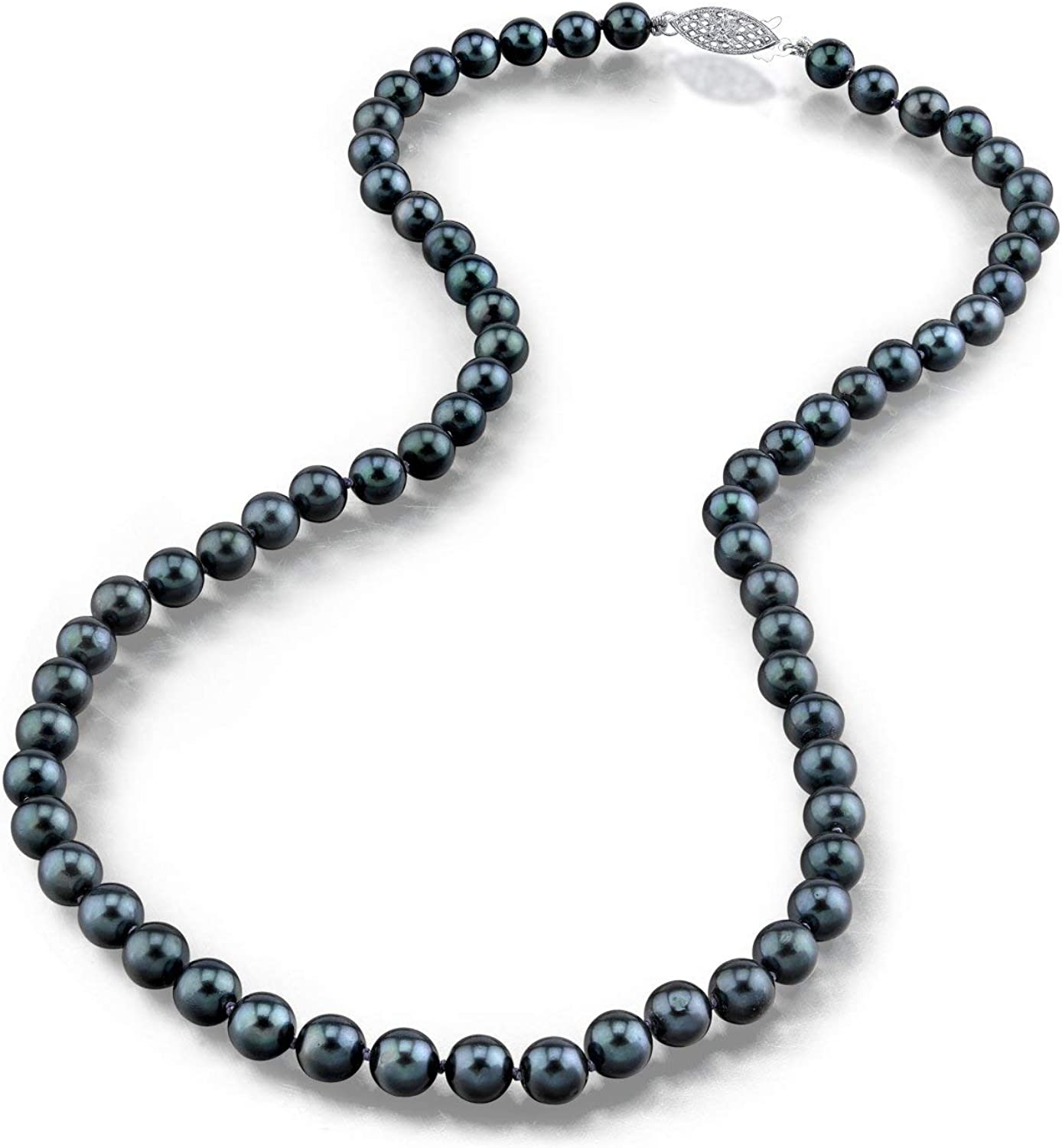 THE PEARL SOURCE 14K Gold 6.5-7.0mm Round Genuine Black Japanese Akoya Saltwater Cultured Pearl Necklace in 16