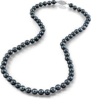 14K Gold 5.0-5.5mm Round Genuine Black Japanese Akoya Saltwater Cultured Pearl Necklace in 18